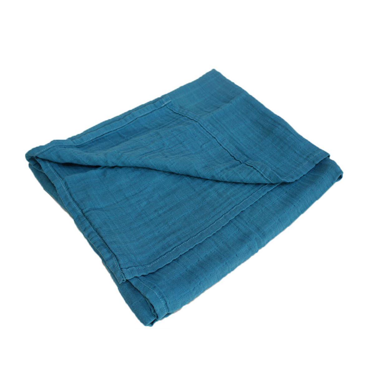 Mukabo Organik Müslin Battaniye Kundak Mavi